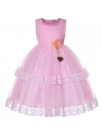Cheap Tulle Lace Pink Flower Girl Dress For Baby