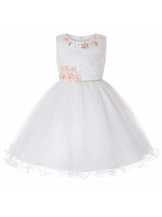 Beautiful Tulle Lace Ivory Flower Girl Dress For Weddings