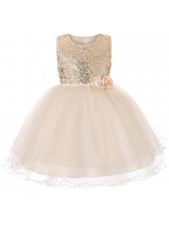 Sparkly Sequin Poofy Pink Tulle Flower Girl Dress For 2019 Wedding