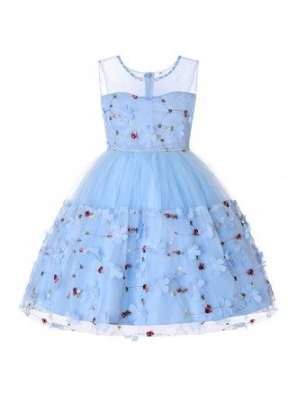 Cheap Light Blue Floral Girl Dress For Birthday Party