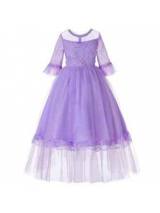 2019 Princess Lavender Beaded Party Kid Dress with Sleeves