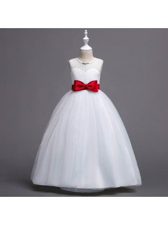 Beautiful Ivory Long Flower Girl Dress with Color Bow Sash