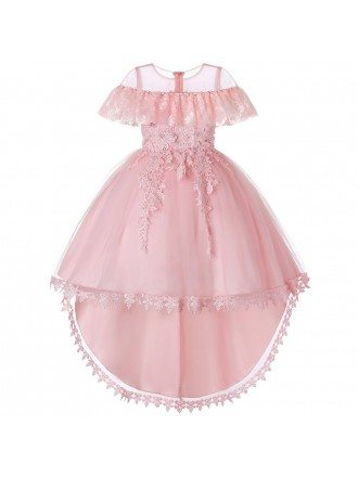 Vintage Blush Pink Lace Flower Girl Dress 2019 High Low Style