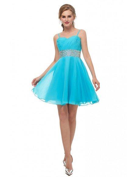 Spaghetti Strap Chiffon Blue Bridesmaid Dress With Beading Waist