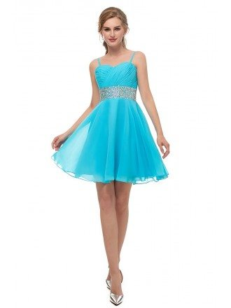 Spaghetti Strap Chiffon Blue Bridesmaid Dress With Beading Waist
