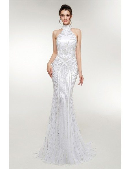 Retro Sparkly Halter Neck Long White Prom Dress Mermaid Style