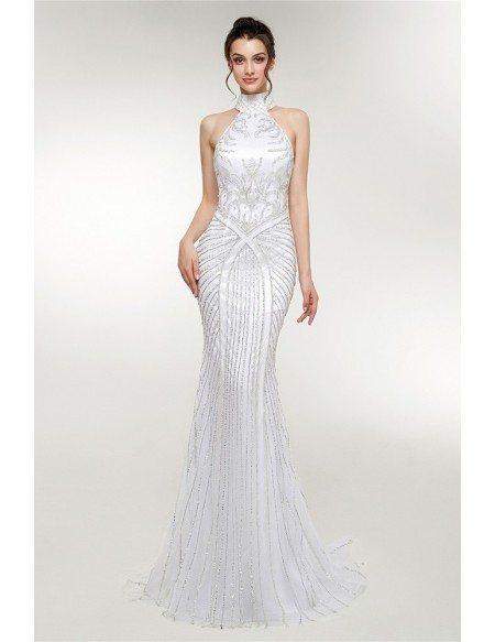 Retro Sparkly Halter Neck Long White Prom Dress Mermaid Style