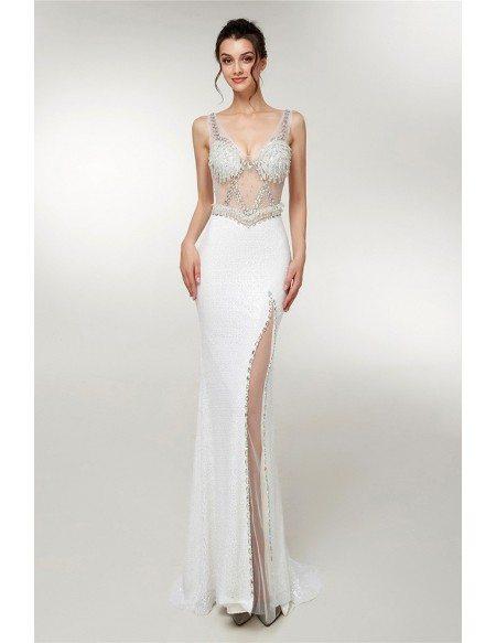 Sleeveless White Sexy See Through Slit Party Dress With Beading