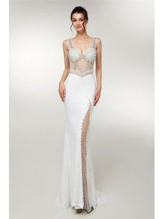 Sleeveless White Sexy See Through Slit Party Dress With Beading