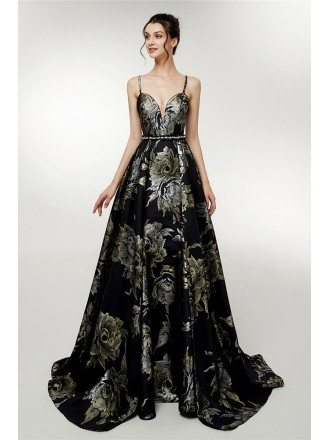 Beautiful Floral Printed Black Evening Gown With Spaghetti Straps