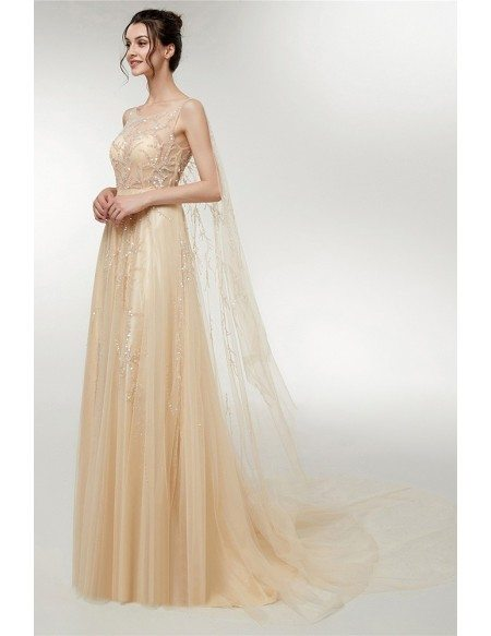Elegant Champagne Tulle Sleeveless Prom Dress With Sparkly Sequin