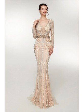 Special Beading Sexy Curve Champagne Formal Dress With Long Sleeves