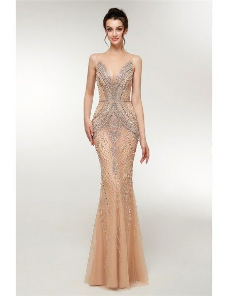 Sparkly Sexy Slimming Champagne Mermaid Prom Dress