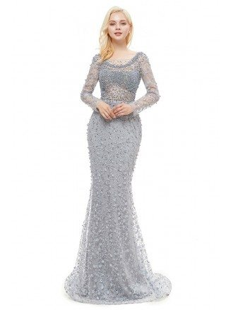 Beautiful Memaid Lace Beaded Long Sleeved Prom Dress With Open Back