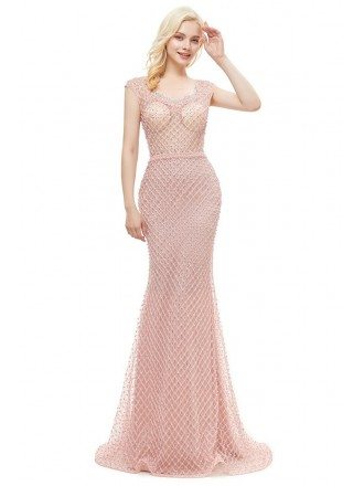 Unique Fishing Net Pretty Pink Mermaid Formal Dress