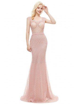 Unique Fishing Net Pretty Pink Mermaid Formal Dress