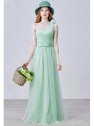 Stylish A-Line One Shoulder Floor-Length Tulle Bridesmaid Dress With Bow
