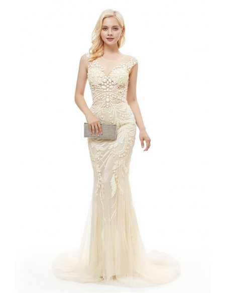 Special Yellow Fitted Mermaid Prom Dress With Beading Sequin