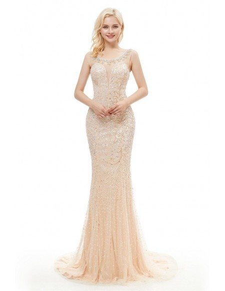 Sparkly Sequin Champagne Long Mermaid Evening Dress