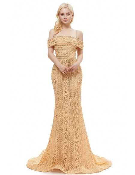 Unique Lace Beading Prom Dress With Off Shoulder Straps