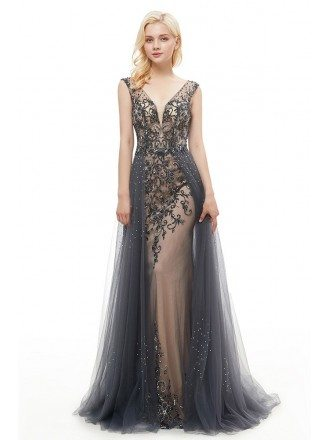 A Line Long Grey Tulle Prom Dress With Beading