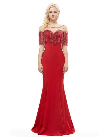 Sexy Mermaid Red Tight Prom Dress With Beading Tassels