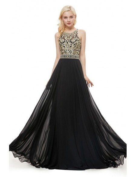 A Line Black Long Formal Evening Dress With Gold Bodice