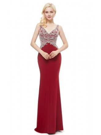 Long Mermaid Tight Red Beading Party Dress With Sweetheart Neck