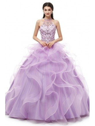 Special Ruffled Beading Ballroom Lilac Quinceanera Dress With Halter Neck