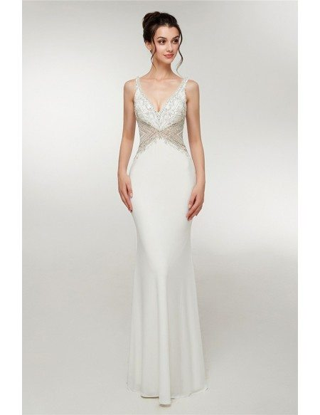 Fitted Mermaid White Formal Dress With Straps Open Back