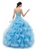 Strapless Sweetheart Ruffled Sky Blue Quinceanera Dress With Beading Top