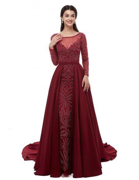 Long Sleeve Burgundy All Beading Formal Dress For Wedding