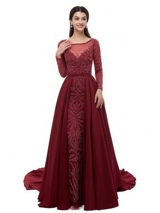Long Sleeve Burgundy All Beading Formal Dress For Wedding