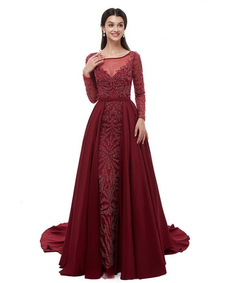 Long Sleeve Burgundy All Beading Formal Dress For Wedding ...