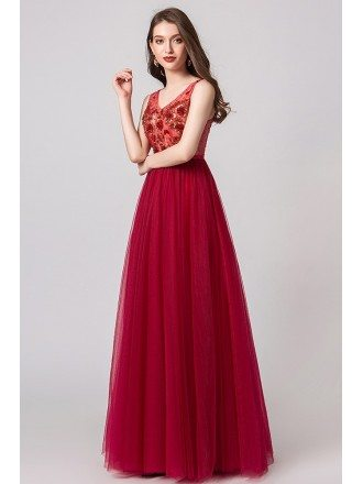 A Line Red Tulle Prom Dress With Floral Beading Top