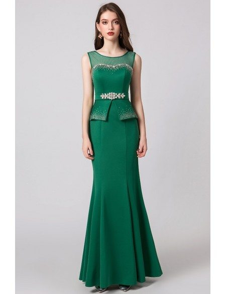 2019 Fitted Green Mermaid Formal Evening Dress For Woman