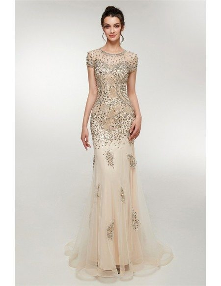 Modest Shiny Champange Long Prom Dress With Cap Sleeves