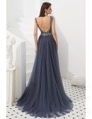 Sleeveless Open Back Long Grey Party Dress With Beading
