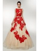 Open Back Champagne Long Tulle Party Dress With Red Butterflies