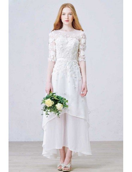 Modest A-Line Scoop Neck Ankle-Length Chiffon Wedding Dress With Appliques Lace