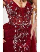 Open Back Long Tulle Burgundy Formal Dress Sleeveless With Beading