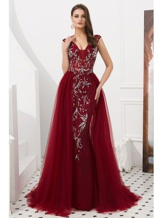 Open Back Long Tulle Burgundy Formal Dress Sleeveless With Beading