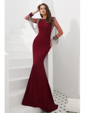 Petite Mermaid Burgundy Formal Dress With Beading Tassels Sleeves