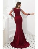 Petite Mermaid Burgundy Formal Dress With Beading Tassels Sleeves