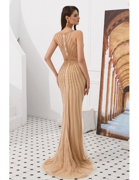 Champgane Long Fitted Mermaid Prom Dress With Beading Stripe