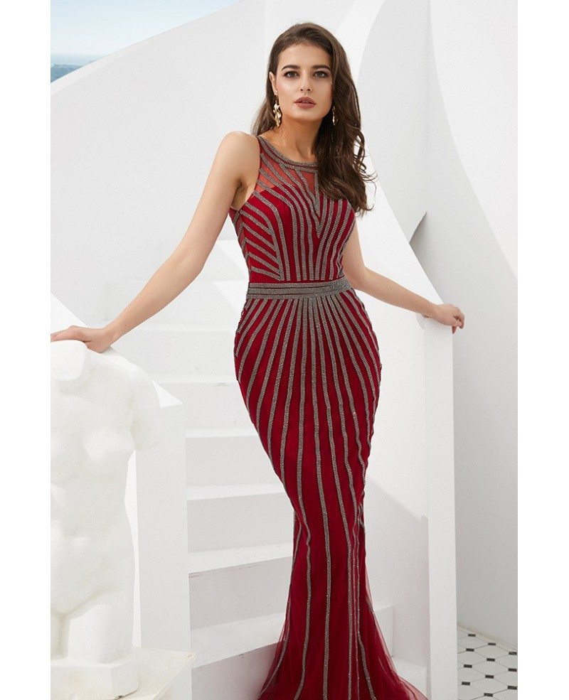Unique Beading Stripe Long Fitted Prom Dress In Mermaid ...