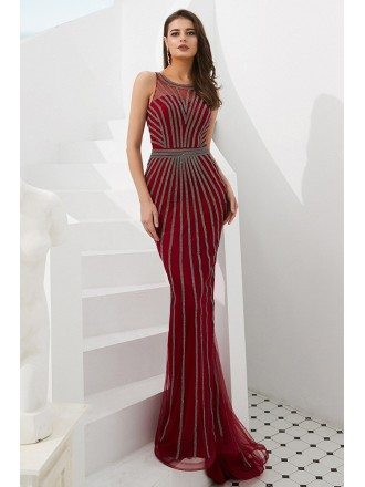 Unique Beading Stripe Long Fitted Prom Dress In Mermaid Style