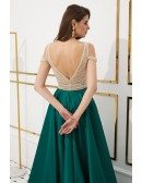 Cold Shoulder Dark Green Long Party Dress With Champagne Beading Top
