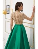 A Line Satin Green Evening Dress With Champange Beading Top