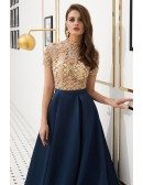 Navy Blue Satin Long Formal Dress With Champange Beading Top